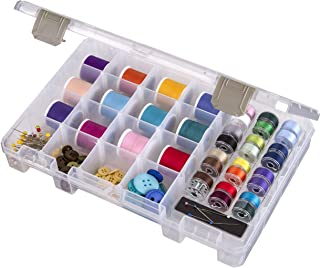 freneci Large Thread Box Empty PP Transparent Storage Container Sewing Crafting Thread Spools Holder Embroidery Cross Stitch Threads Containing Case