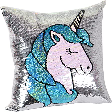 Unicorn Reversible Sequins Throw Pillow Cover Decorative,Unicorn Birthday Gift for Girls,Magic Sequence Pillow Case Cushion Cover for Room,Bedding and Couch Sofa Decor(Only 16
