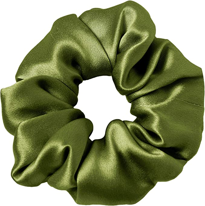 LilySilk Green Silk Scrunchies -Regular -Scrunchies For Hair - Silk Scrunchies For Women Soft Hair Care (Dark Green)