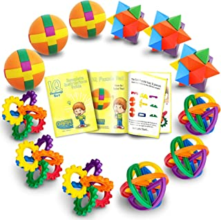 Fun Puzzle Balls with Free Colorful Instruction Guide by Gamie - Party Games - Fidget Brain Teaser Puzzles - Includes 12 Fun and Challenging Puzzle Balls - Great Educational Toy for Kids