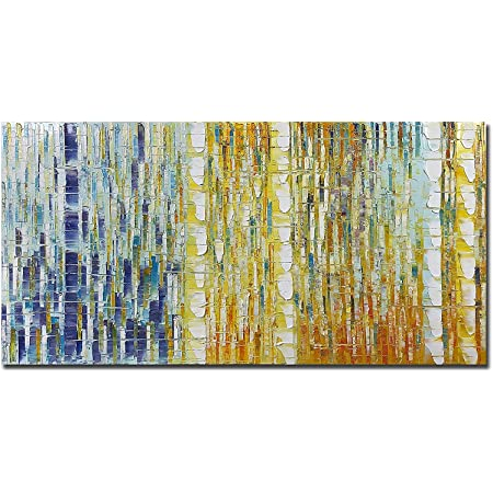 Tiancheng Art 24 x 48 Inch Modern Abstract Art Paintings Oil Hand Painted on Canvas Wall Art Prints Framed Palette Knife Oil Canva Painting Acrylic Decor for Living room Horizontal Ready to Hang