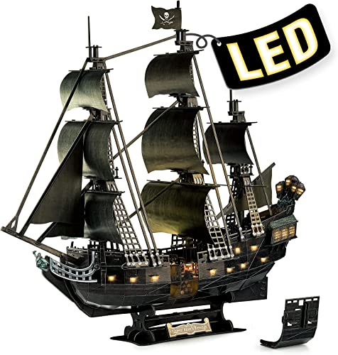 high quality 3D Puzzle for Adults Moveable LED Pirate Ship Halloween Decorations with Detailed Interior, Large discount Queen Anne's Revenge Sailboat Desk Puzzles, Difficult high quality 3D Puzzles with Lights Gifts for Men Women online sale