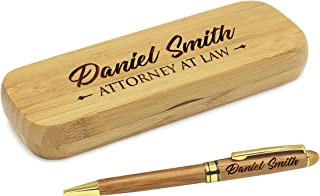 Custom Engraved Ballpoint Pen with Personalized Case - Wood Pen Set for Lawyers, Doctors, Teachers, Graduates, Students (Bamboo)