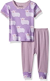 Hatley Boys' Baby Girls Organic Cotton Short Sleeve Mini Pajama Sets