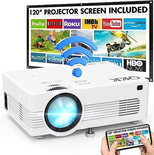 """Projecteur WiFi QKK 1080P Full HD Soutien, 120"""" Grand Écran-Projection Compris, 6000 Lumens Mini Rétroprojecteur sans..."""