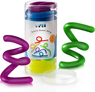 Stretchy String Fidget- Sensory Toys -Stretches from 10 Inches to 8 Feet- (BPA/Phthalate/Latex-Free) Anxiety and Stress Relief for Kids with Special Needs, Autism and ADHD 6 Pack