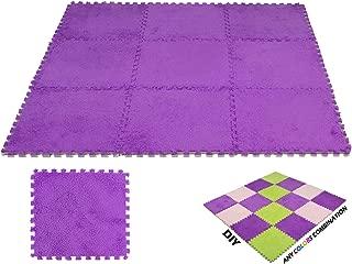 DeElf 9 pcs Interlocking Carpet Tiles Plush Foam Square Mats Set for Living Room, Bedroom, Kitchen and Hard Floor (Purple)