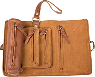 ANCICRAFT Soft Genuine Leather Handmade Roll up Pencil Pen Mark Case Holder Wrap Pouch Bag Organizer with Zipper and Snap Closure (Brown)