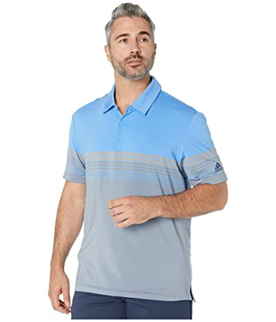 adidas Golf Ultimate Gradient Block Stripe Polo (Real Blue) Men