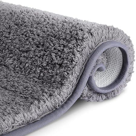 RenFox Alfombra de Baño de Microfibra Esponjosa Alfombra Baño Absorbente y Antideslizante Suave Alfombra de Ducha Lavable a Máquina 50x80x3cm (Gris Oscuro)