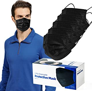 Individually Packaged 50 Pcs Face Masks Black Breathable Dust Mask Stretchable Elastic Ear Loops - Black Face Mask