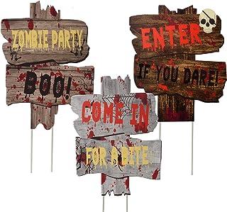 Joyjoz Halloween Décorations Extérieures Panneaux de Jardin avec Bâtons, Panneau de Signalisation d'avertissement pour les...