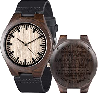 Mens Customized Engraved Wooden Watches Quartz Casual Wristwatches for Men Husband Boyfriend Dad Son Family Friends Person...