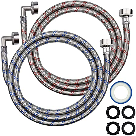 Premium Stainless Steel Washing Machine Hose, 6ft Long Washer Hose with 90 Degree Elbow,Burst Proof Hot and Cold Water Connection Inlet Supply Lines for Washer,Washing Machines,Washer Machines(2-PACK)