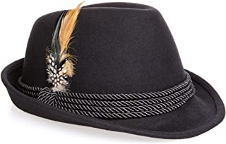 Holiday Oktoberfest Wool Bavarian Alpine Hat - Black Color, Medium
