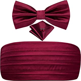 Dubulle Mens Cummerbund and Pre tied Bow Tie Pocket Square Cufflinks Set