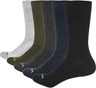 YUEDGE Men's Classic Breathable Comfortable Cotton Business Casual Mid Crew Calf Dress Socks for Men 5 Pairs Multipack