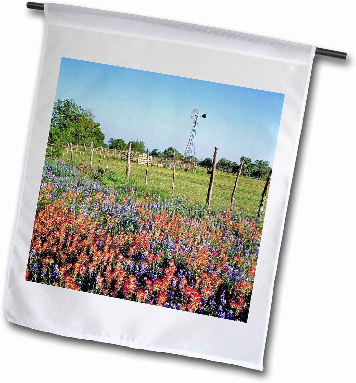 3dRose Danita Delimont - Texas - Texas, Llano. Indian Paintbrush, Bluebonnets - US44 RER0000 - RIC Ergenbright - 12 x 18 inch Garden Flag (fl_94538_1)