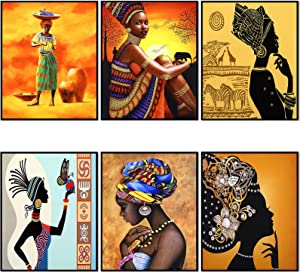 6 Pieces African Wall Art Painting Ethnic Ancient Retro Canvas Picture Black Woman Ethnic Ancient Theme Diamond Girl for Home Bedroom Bathroom Wall Decor, Unframed