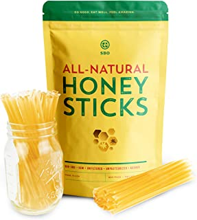 SBO Honey Sticks - 200 Count of Raw Unfiltered Non-GMO Single Serve Pure Honey Stick Packets for Tea and Snacks - Made in ...