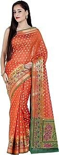 Women's Cotton Silk Blend Indian Ethnic Banarasi Saree with Unstitched Blouse Piece(1247)