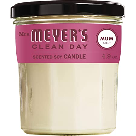 Mrs. Meyer's Clean Day Scented Soy Aromatherapy Candle, 35 Hour Burn Time, Made with Soy Wax, Mum Scent, 4.9 oz