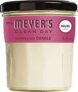 Mrs. Meyer's Clean Day Scented Soy Candle, Mum Scent, 4.9 Ounce Candle