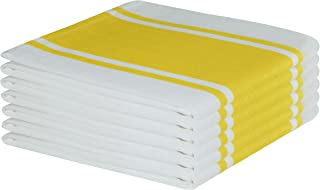 Tiny Break Dish Kitchen Towels Vintage Striped 100% Cotton Tea Towel 20 x 28 inch Set of 6, Yellow