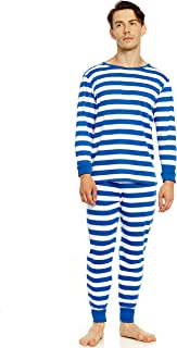Men's Pajamas Fitted Striped Christmas 2 Piece Pjs Set 100% Cotton Sleep Pants Sleepwear (XSmall-XXLarge)