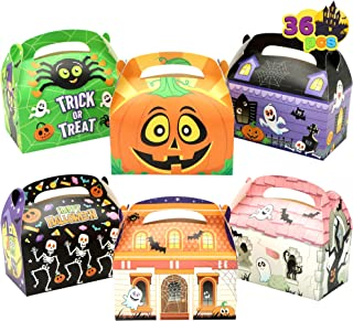 """JOYIN 36 Pcs Halloween Cardboard Treat Boxes (5.6""""x5.6""""x3.2"""") Trick or Treat Candy Boxes Cookies Goodie Bags for Halloween..."""