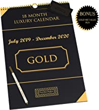 2019-2020 Wall Calendar - LUXURY - Black/Gold -18 Month- Large Hanging Wall Calendar - 11