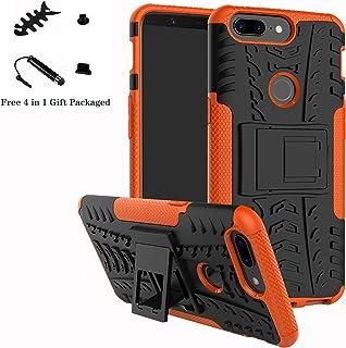 LiuShan Oneplus 5T Funda, Heavy Duty Silicona Híbrida Rugged Armor Soporte Cáscara de Cubierta Protectora de Doble Capa Caso para Oneplus 5T Smartphone(con 4 en 1 Regalo empaquetado),Naranja