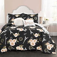 Lush Decor Black Vintage Paris Rose Butterfly 5 Piece Reversible King Quilt Bedding Set