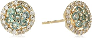 14k Yellow Gold Alexandrite And Diamond Stud Earrings (1/4 cttw, H-I Color, I1-I2 Clarity)