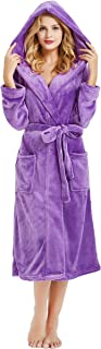 Womens Hooded Fleece Robe, Soft Plush Bathrobe for Womens, Fluffy Cute Long House Coat