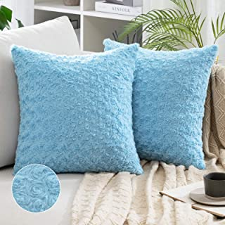 MIULEE Pack of 2 Decorative Throw Pillow Covers Luxury Faux Fuzzy Fur Super Soft Cushion Pillow Case Decor Light Blue Case...