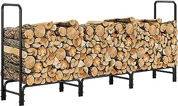 femor Log Rack, 8 Feet Outdoor Firewood Rack, Heavy Duty Rack Steel Log Storage Log Holder, Wood Stacker, Rack Holder, Woo...
