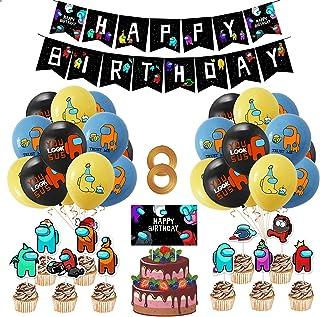 Yisscen DecoracióN De Fiestas TemáTicas Among Us Globo Feliz Cumpleaños Pancarta Cumpleaños Supplies Set Usado para Niños Niñas Decoración de Carteles de Fiesta 38PCS