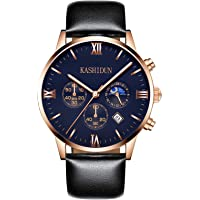 Kashidun Men's Casual Quartz Analog Waterproof Wrist Watch Genuine Leather Strap (Black)