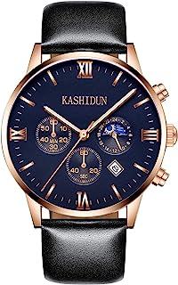 KASHIDUN Men's Watches Luxury Sports Casual Quartz Analog Waterproof Wrist Watch Genuine Leather Strap Black Color