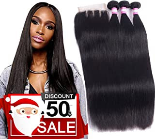 8A Brazilian Remy Hair With Lace Closure Straight Human Hair 3 Bundles Weave With 4x4 Closure Unprocessed Virgin Straight Hair Extension Natural Color (16 18 20+Closure 14, Three Part)