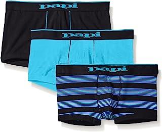 papi Men's 3-Pack Stripe/Solid Brazilian Trunk