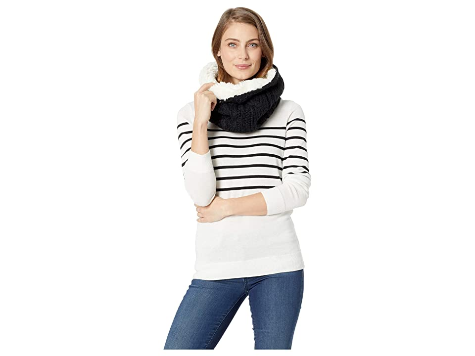 Plush Shearling Cable Knit Neck Warmer (Black/Cream) Scarves