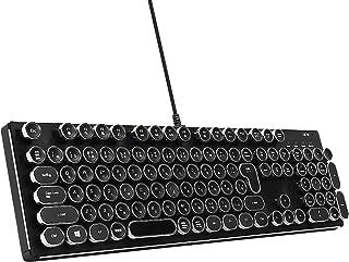 HKW タイプライター風メカニカルキーボード 青軸 JIS規格 109キー USB有線 日本語キーボード (シルバー)