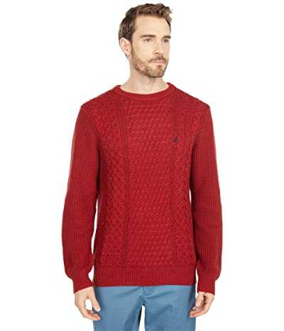 Nautica Classic Fit Cable Knit Sweater (Vintage Wine) Men