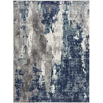 Luxe Weavers Euston Blue 5 x 7 Abstract Modern Area Rug 7681
