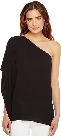 Zip One Shoulder Drape Top