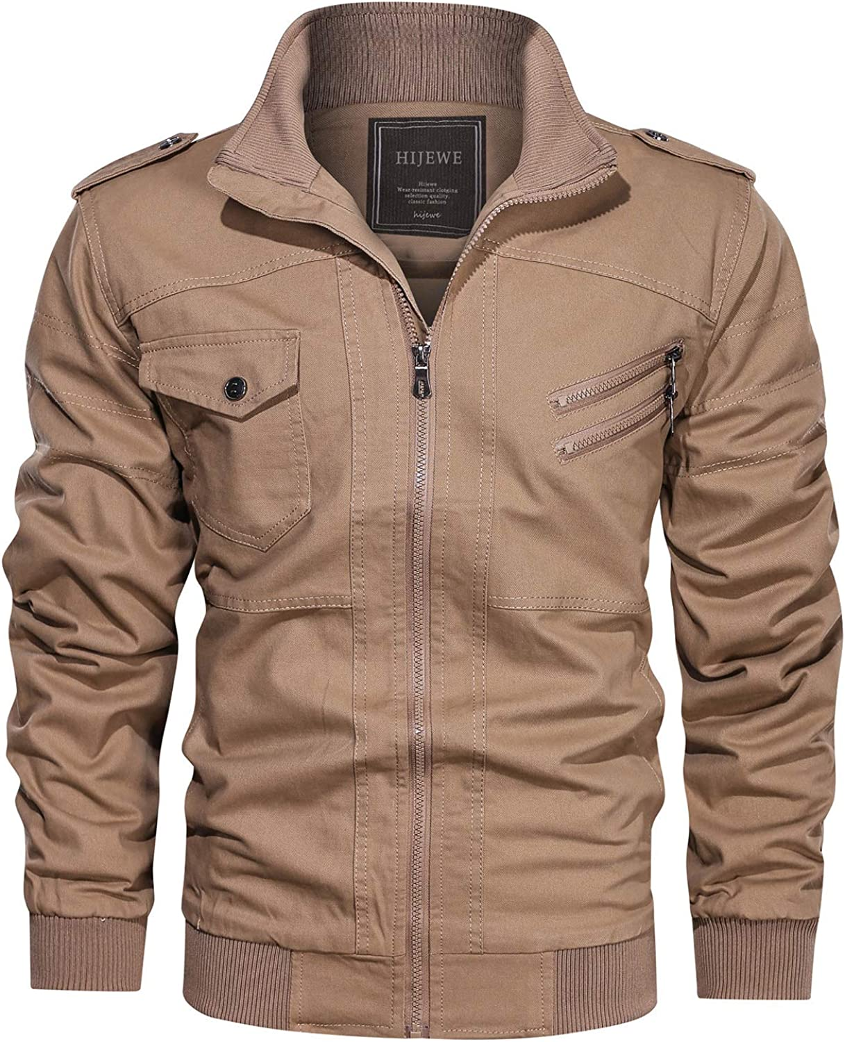 HIJEWE Men's Military Jacket Outdoor Lightweight Cotton Casual Bomber Coat at  Men's Clothing store