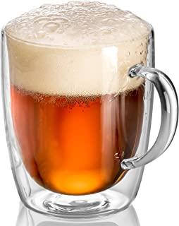 Beer Glasses, Mugs for Freezer with Handle   17oz Double Wall Glass Insulated Large Mug Set of 2   Keep Drinking Iced Cold   Dishwasher Safe   JECOBI
