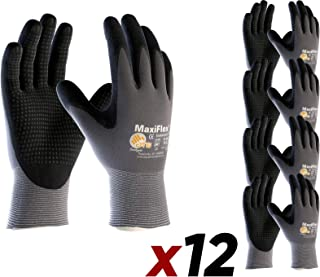 12 Pack MaxiFlex Endurance 34-844 Seamless Knit Nylon Work Glove with Nitrile Coated Grip on Palm & Fingers, Size X-Large (12)